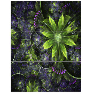 Designart Glossy Green Purple Fractal Flowers Large Floral Wall Art Triptych Canvas
