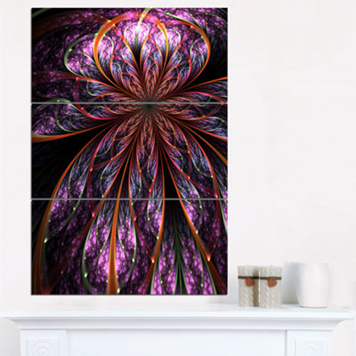 Designart Glossy Pink Blue Fractal Flower Large Floral Wall Art Triptych Canvas