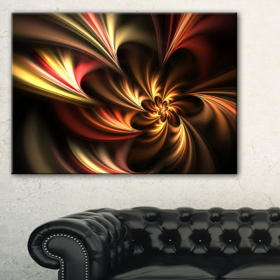 Designart Glossy Yellow And Red Fractal Flower Floral Art Canvas Print