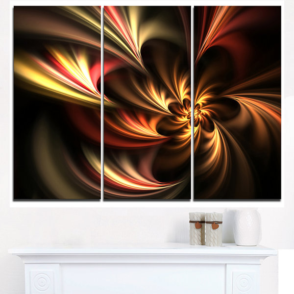 Designart Glossy Yellow And Red Fractal Flower Floral Art Triptych Canvas Print