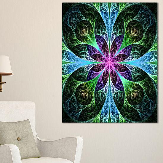 Designart Glowing Blue And Green Fractal Flower Pattern Floral Canvas Art Print