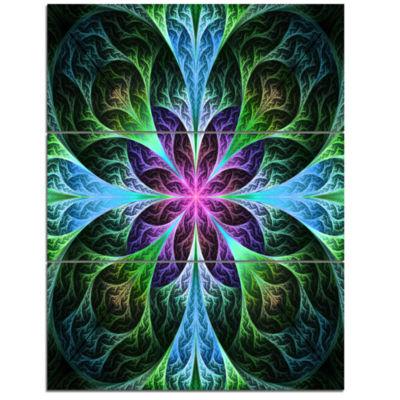Designart Glowing Blue And Green Fractal Flower Pattern Floral Triptych Canvas Art Print