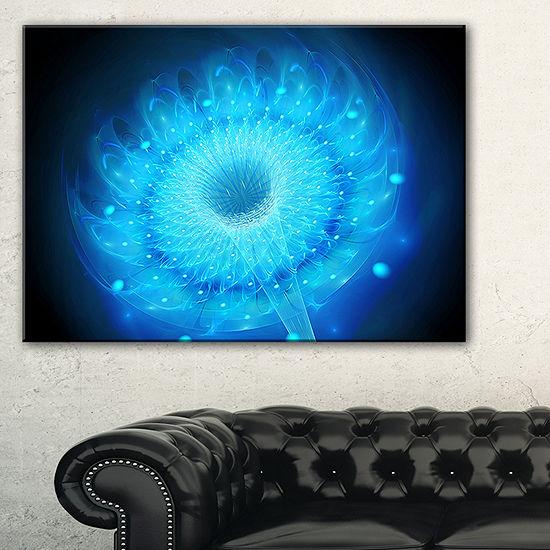 Designart Glowing Blue Fractal Flower On Black Floral Canvas Art Print