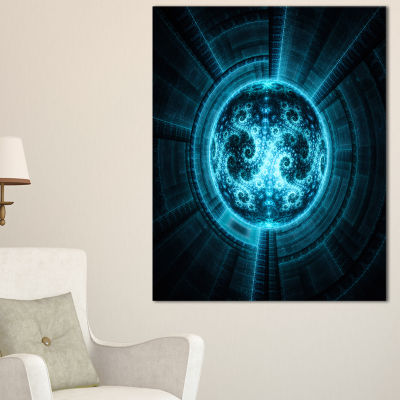 Designart Glowing Bright Blue White Fractal FlowerAbstract Wall Art Canvas
