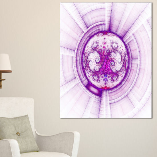 Designart Glowing Bright Purple Fractal Flower Abstract Wall Art Canvas