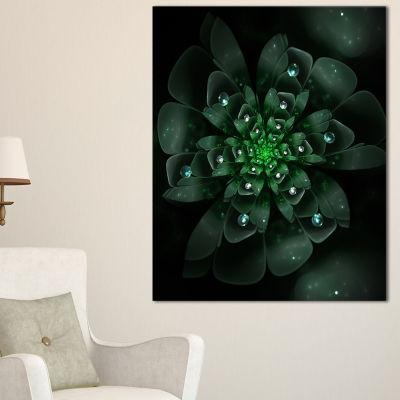 Designart Glowing Crystal Green Fractal Flower Floral Canvas Art Print