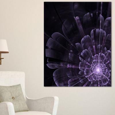 Designart Glowing Crystal Purple Fractal Flower Floral Canvas Art Print