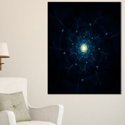 Designart Glowing Fractal Flower Blue On Black Floral Canvas Art Print