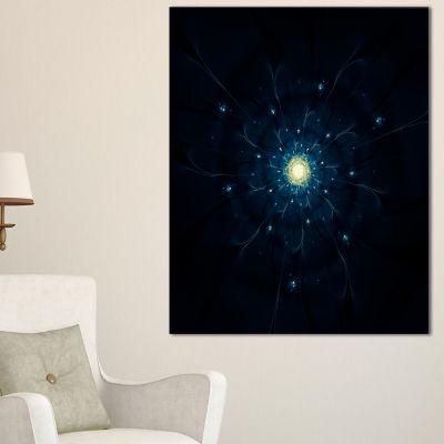 Designart Glowing Fractal Flower Blue On Black Floral Canvas Art Print