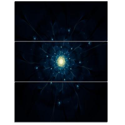 Designart Glowing Fractal Flower Blue On Black Floral Triptych Canvas Art Print
