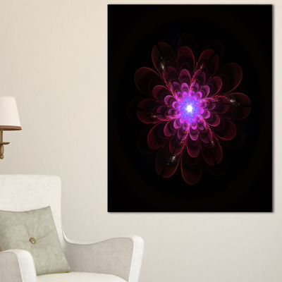 Designart Glowing Fractal Flower Pink On Black Floral Canvas Art Print