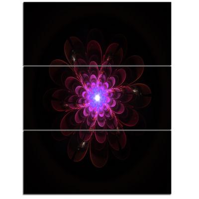 Designart Glowing Fractal Flower Pink On Black Floral Triptych Canvas Art Print