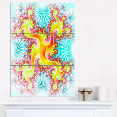 Designart Glowing Golden Fractal Flower Large Abstract Triptych Canvas Artwork