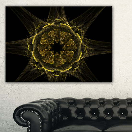Designart Glowing Golden Radial Fractal Flower ArtFloral Canvas Art Print