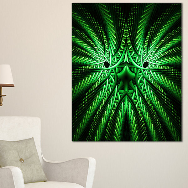 Designart Glowing Green Fractal Flower In Black Large Abstract Canvas Artwork
