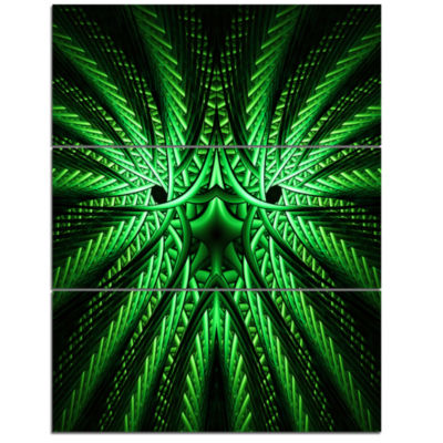 Designart Glowing Green Fractal Flower In Black Large Abstract Triptych Canvas Artwork