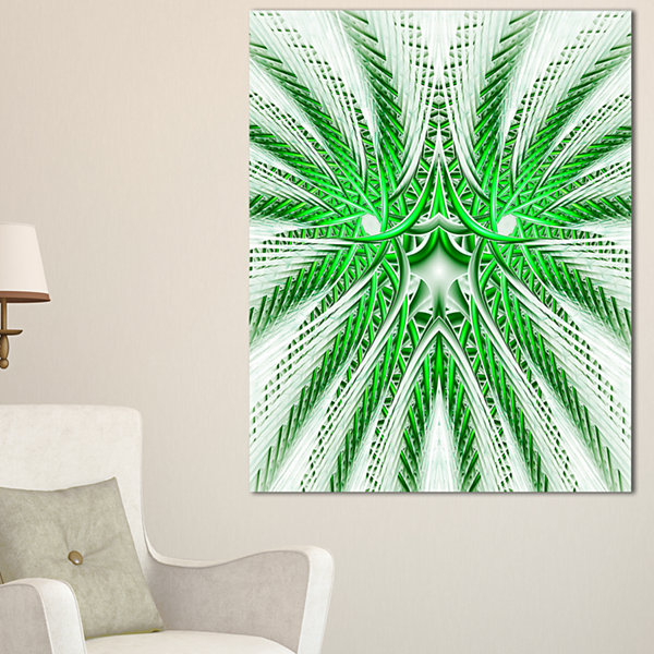 Design Art Glowing Green Fractal Flower In White Large Abstract Canvas Artwork