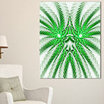 Designart Glowing Green Fractal Flower In White Large Abstract Canvas Artwork