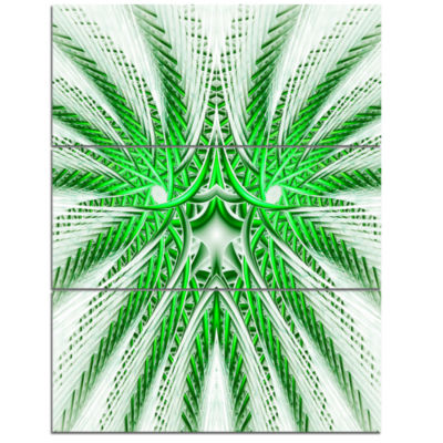 Designart Glowing Green Fractal Flower In White Large Abstract Triptych Canvas Artwork