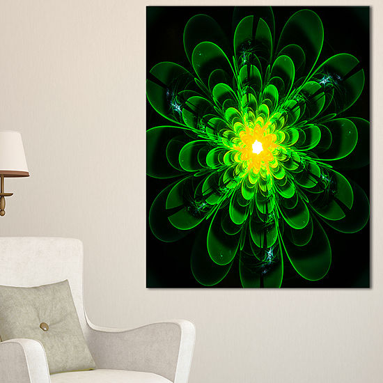 Designart Glowing Green Fractal Flower On Black Floral Canvas Art Print