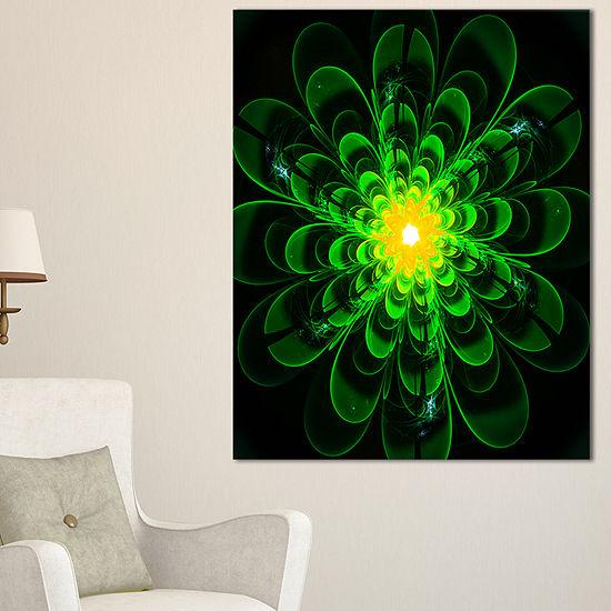 Designart Glowing Green Fractal Flower On Black Floral Canvas Art Print