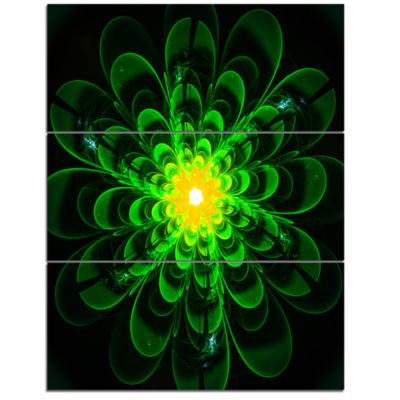 Designart Glowing Green Fractal Flower On Black Floral Triptych Canvas Art Print