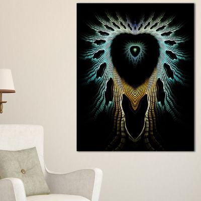 Designart Glowing Light Blue Fractal Flower LargeAbstract Canvas Artwork