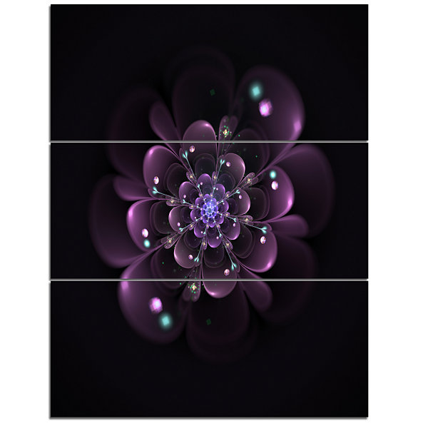 Designart Glowing Light Purple Fractal Flower OnBlack Floral Triptych Canvas Art Print