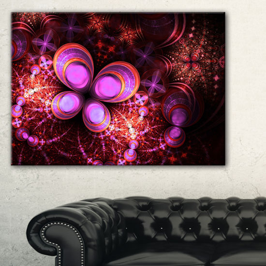 Designart Glowing Purple Pink Fractal Flower Floral Canvas Art Print