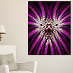 Designart Glowing Purple White Fractal Flower Abstract Wall Art Canvas