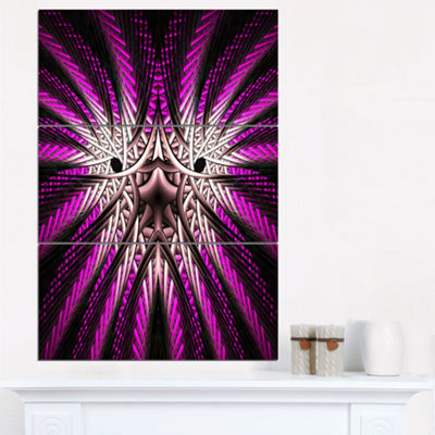 Designart Glowing Purple White Fractal Flower Abstract Wall Art Triptych Canvas