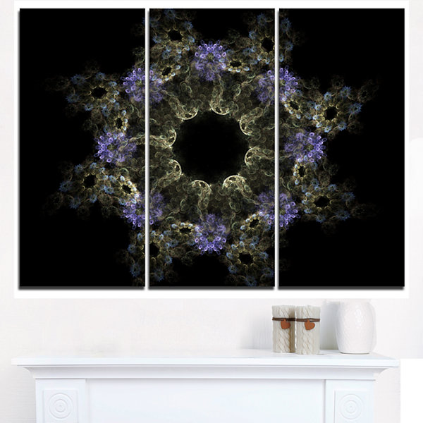 Designart Glowing Radial Fractal Flower In PurpleFloral Triptych Canvas Art Print