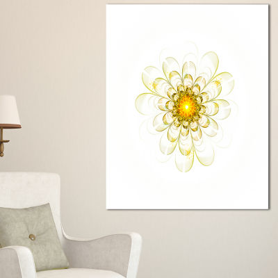 Designart Glowing Yellow Fractal Flower Digital Art Floral Canvas Art Print