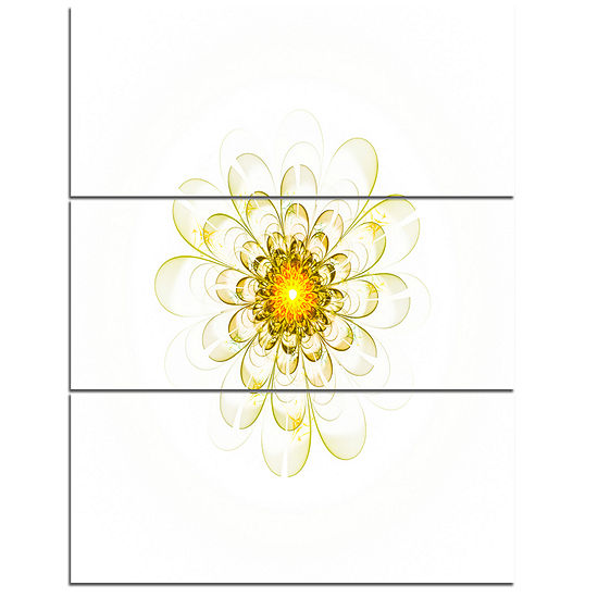 Designart Glowing Yellow Fractal Flower Digital Art Floral Triptych Canvas Art Print