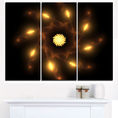 Designart Glowing Yellow Radial Fractal Flower ArtFloral Triptych Canvas Art Print