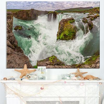 Design Art Godafoss Waterfall Iceland Panorama Landscape Canvas Art Print