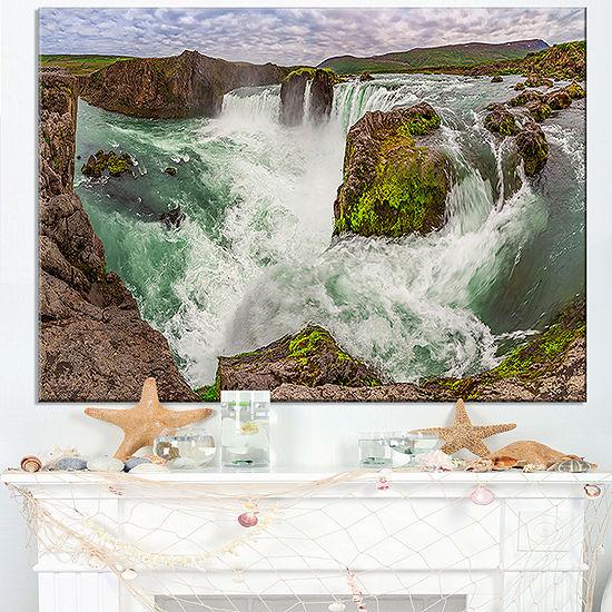 Designart Godafoss Waterfall Iceland Panorama Landscape Canvas Art Print