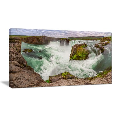 Designart Godafoss Waterfall Iceland Panorama Landscape Canvas Art Print