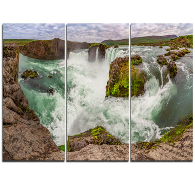 Designart Godafoss Waterfall Iceland Panorama Landscape Triptych Canvas Art Print