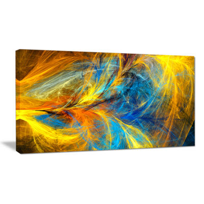 Designart Gold And Blue Psychedelic Pattern Abstract Art On Canvas