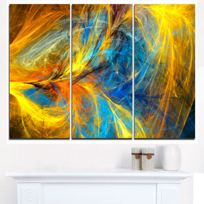 Designart Gold And Blue Psychedelic Pattern Abstract Art On Triptych Canvas