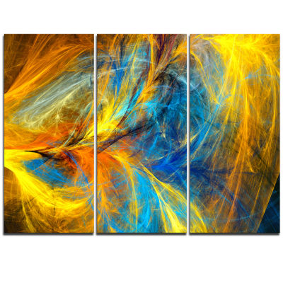 Design Art Gold And Blue Psychedelic Pattern Abstract Art On Triptych Canvas