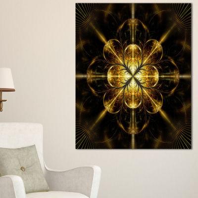 Designart Gold Symmetrical Large Fractal Flower Floral Canvas Art Print