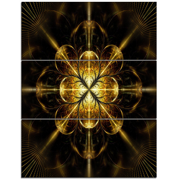 Designart Gold Symmetrical Large Fractal Flower Floral Triptych Canvas Art Print