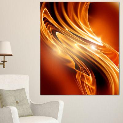 Designart Golden Abstract Fractal Design Large Abstract Canvas Art