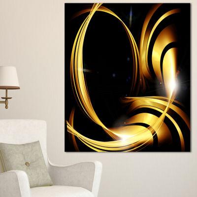 Designart Golden Abstract Warm Fractal Design Large Abstract Canvas Art