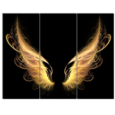 Designart Golden Angel Wings On Black Oversized Abstract Canvas Art - 3 Panels