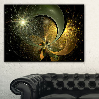 Designart Golden Fractal Flower With Silver StarFloral Canvas Art Print