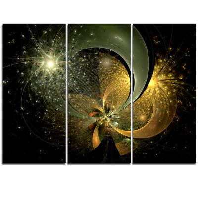 Designart Golden Fractal Flower With Silver StarFloral Triptych Canvas Art Print