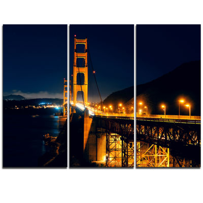 Designart Golden Gate At Night Sea Bridge TriptychCanvas Art Print